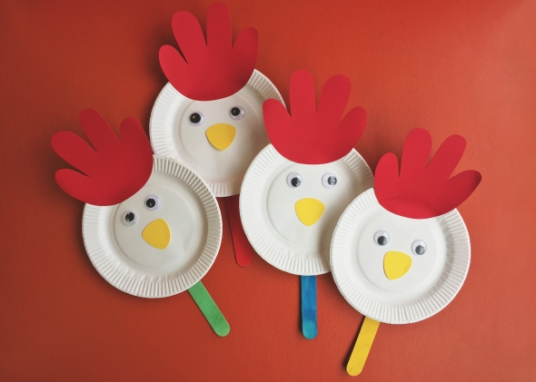 Make your own paper plate rooster lan su chinese garden for Rooster craft for kindergarten